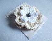 CLEARANCE Crochet Flower Hair Clip Crochet Flower Barrette Crochet Flower Alligator Clip Khaki Hair Clip Cream White Hair Clip Baby Girls