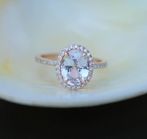 Rose gold ring. Ice peach champagne sapphire 14k rose gold diamond ring engagement ring 2.37ct oval sapphire ring by Eidelprecious
