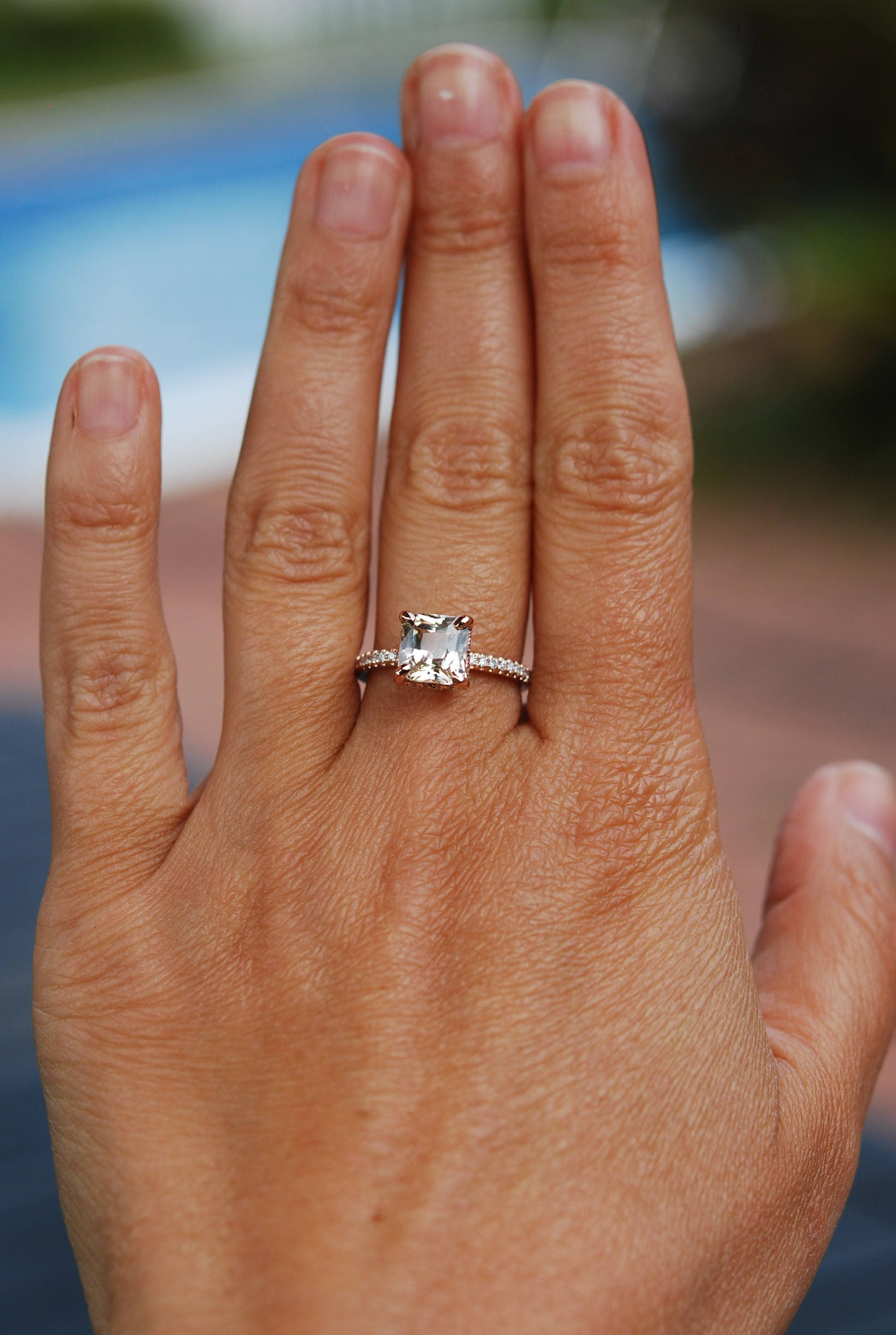 Radiant cut ring Peach Sapphire Engagement Ring square 14k rose