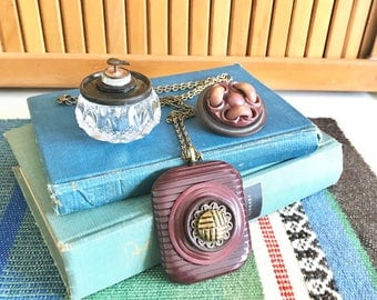 Gift Set - Brooch Pin Brown Celluloid - Vintage Button Brooch - Pendant Chain Necklace - Salt Cellar Ring Box