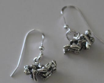 Sterling Silver WRESTLER Earrings - Wrestling,  Sports