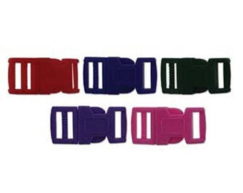 ON SALE 15mm Multi Colored Plastic Paracord Macrame Buckles 6 complete sets