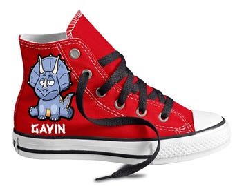 Dinosaur Shoes - Triceratops Shoes - Custom Kid Converse Shoes - Custom Personalized High Top Converse Shoes