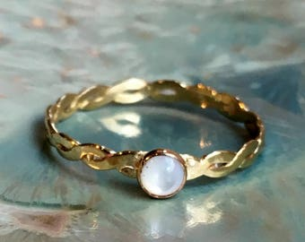 Moonstone ring, stacking ring, skinny ring,  June birthstone ring, Gold ring, brass ring, engagement ring, gemstone ring - On The moon R2505