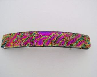 Medium Dichroic hair barrette.