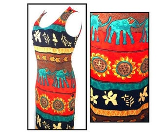 80's TRIBAL vintage fitted ethnic maxi sun dress S