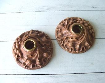 Pair of Vintage Burwood Wood Composite Candleholders Candlesticks