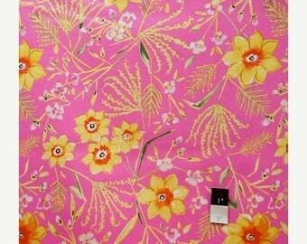 ON SALE Dena Designs LIDF003 Sunshine Jasmine Pink Linen Fabric 1 Yd
