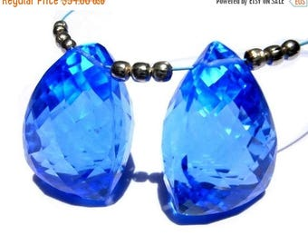 50% Off Sale Matched Pair of AAA Tanzanite Blue Quartz Faceted 3 Sided Fancy Briolettes 20x13mm Approx