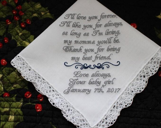 Wedding Handkerchief, Mother of the Bride Gift, Parents Wedding Gift, Embroidered Handkerchief, Bridal Handkerchief, Love You Forever Hankie