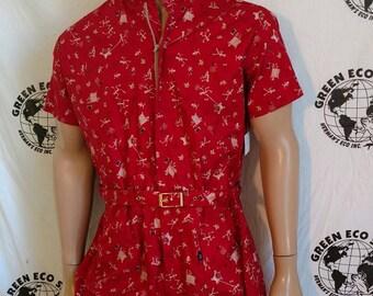 Mens Romper shorts  42 L robot thread print Anna Herman USA jumpsuit cotton