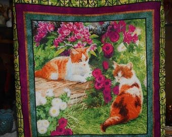 Cats in the Garden Tote Bag Kitten Kitty Handmade Purse Only One Available