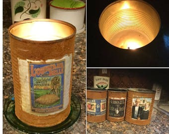 Set of 3 Primitive rusty tin can soy wax candles