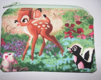 Bambi handmade fabric coin change purse card holder