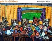 Dogs Quilting Dog Art Print  Giclee Gift Picture  JSCHMETZ modern abstract folk pop art AMERICAN ART gift