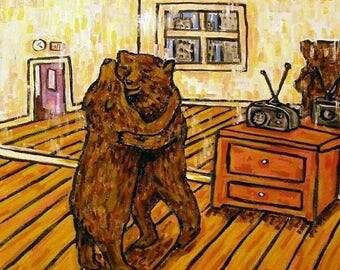 20 % off storewide Dancing Bears - brown bear, black bear ,  print on tile, ceramic coaster, gift , modern folk abstract pop