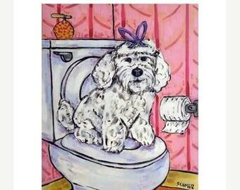 20 % off storewide Maltese in the Bathroom Dog Art Print JSCHMETZ modern abstract folk pop art american ART gift 11x14