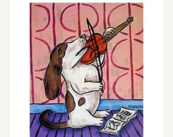 20 % off storewide Basset Hound Playing the Violin Dog Art Print
