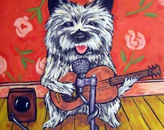 20% off storewide Cairn Terrier Playing the Guitar Dog Art Tile Coaster Gift