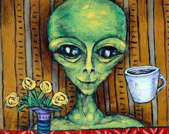 20% off storewide alien coffee cafe art Tile coaster gift  modern folk pop art JSCHMETZ