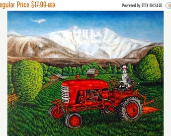 20% off Devon rex Cat on the Farm Riding a Tractor Animal Art Print