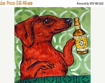 20% off Dachshund Having a Beer Dog Art Tile Coaster Gift