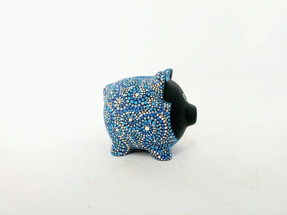Blues Piggy Bank: Hand painted Piggy Dot painting