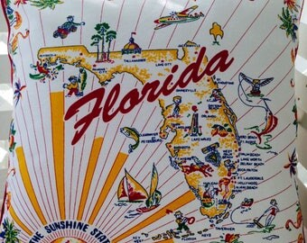 "Florida Pillow Cover, 18"" Retro Florida State Pillow Cover, Retro Sunshine State Pillow Cover, Florida Home Decor, Florida Souvenir"