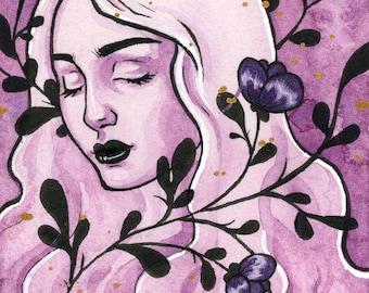 Original watercolor and gouache ACEO