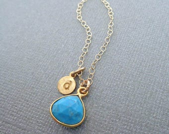 Turquoise Initial Gold Necklace/Natural Turquoise Gold Bezel/11 Anniversary Necklace/December Birthstone/ Blue and Gold Stone Initial/G30