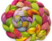 Roving Organic Polwarth and Bombyx Silk Handdyed Combed Top - Persian Rose, 5.3 oz.