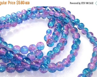 50% Off Pink and Aqua clear Round Crackle 6mm Glass Beads, a Strand is 32 inches, approx 134 Round Aqua and Pink Crackle Glass Beads 6mm. GB