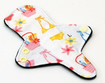 Reusable Cloth Menstrual Pad Thong liner with Windpro - Light Flow adjustable thong liner - cotton flannel top - Bikini