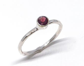 Garnet Engagement Ring - Garnet Solitaire Ring - January Birthstone Ring - Silver Stacking Ring - Gemstone Stacking Ring - Minimalist Ring