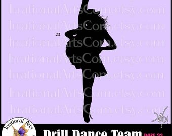 Drill Dance Team Silhouettes Pose 23 - 1 EPS & SVG Vinyl Ready files and 1 PNG digital file and commercial license [Instant Download]