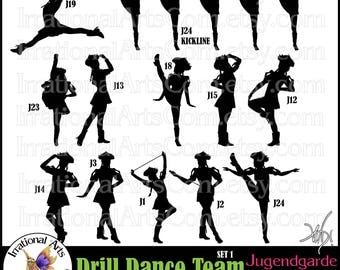 Drill Dance Team JUGENDGARDE Silhouettes - 12 PNG digital graphics Kickline Feather Hats Braids Poofy Sleeves Germany German Drill Team