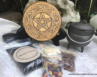 Celtic Pentacle Tile and Cauldron Altar Set