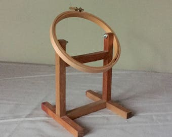 Vintage wood wooden embroidery hoop on a stand to display your needlework or signs round circle