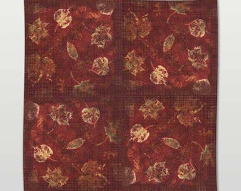 Fall Leaves Fashion Scarf in Warm Rich Burgundy and Gold Colour Pattern