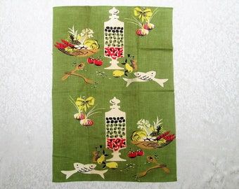 Vintage Kitchen Tea Towel New Tag Unused Mid Century Retro Martex Avocado Green Olive Jars Hand Towel Fall Dish Cloth MWT Vintage Linens