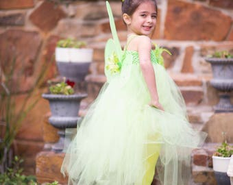 TinkerbelTinkerbell Flower Tutu Dress with matching wings - Perfect for Halloween costume, Photo Prop, Birthday, Custom made in Sz 1-5T