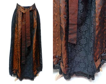 Vintage Taffeta and Lace Maxi Skirt Size M Medium Dark Copper and Black Captive Fashions