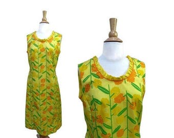 SALE Vintage The Vested Gentress Bright Yellow Sz Medium 70s Abstract Floral Dress  NO BELT