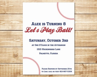 PRINTED Simple Baseball 5x7 Birthday Invitation with envelope in Red, White, and Blue with Stitches
