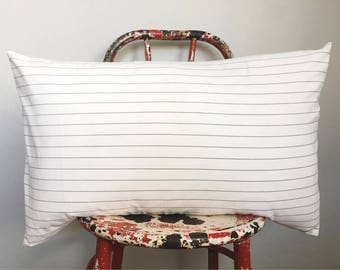 Classic pinstripe extra soft cotton lumbar pillow / modern / farmhouse