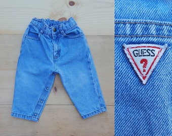 Vintage Baby Jeans  // Vtg 80s 90s GUESS Elastic Waist Light Stone Wash Denim Pants with Snap Crotch // infant toddler size 6-12 months