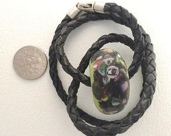 Summer Sale Eye Bead Kumihimo Size Hole on 17 1/2 inch Leather Choker.