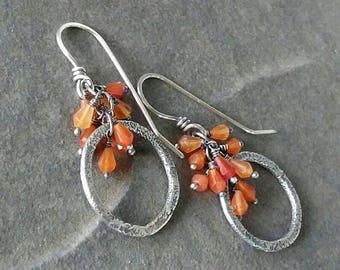 Rustic-Handmade- OOAK-Artisan- Gemstone- Earrings- Carnelian- Sterling Silver-Hoop Earrings.