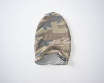 Camo Slouchy Hat - Reversible Slouchy beanie - Kids hat - kids beanie - slouchy beanie - camo and gray hat