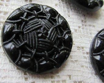 6 Vintage 1970s Czech Glass Buttons Handmade Black Glass Czechoslovakia  #46